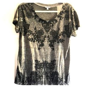 Express grey and black lace print top